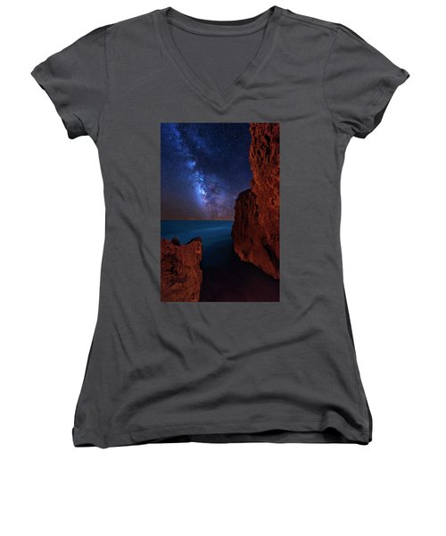 Milky Way Over Huchinson Island Beach Florida Women's V-Neck T-Shirt (Junior Cut) by Justin Kelefas