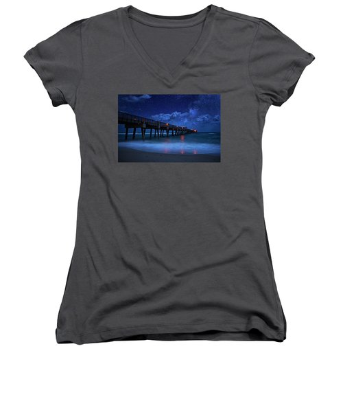 Milky Way Over Juno Beach Pier Under Moonlight Women's V-Neck
