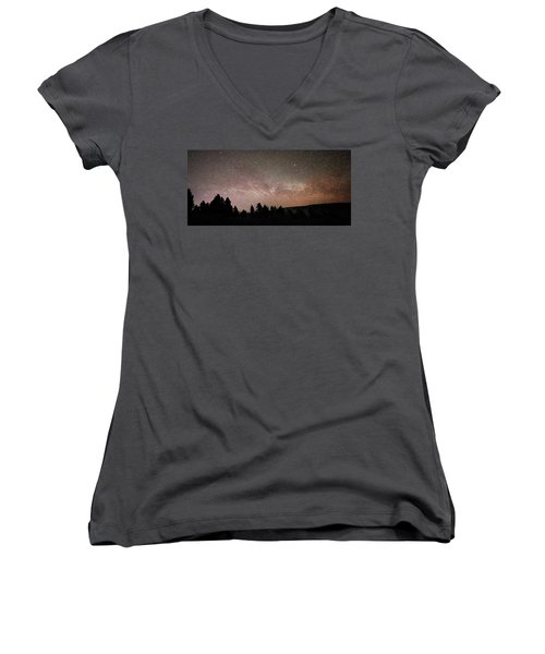 Milky Way Over Mammoth Hot Springs With Pink Glow From Aurora Borealis Women's V-Neck