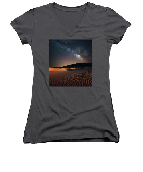Milky Way Over Mesquite Dunes Women's V-Neck (Athletic Fit)