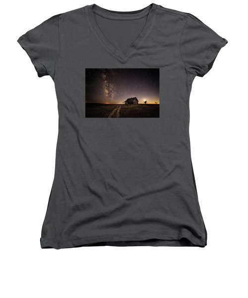 Women's V-Neck T-Shirt (Junior Cut) featuring the photograph Milky Way Over Prairie House by Kristal Kraft