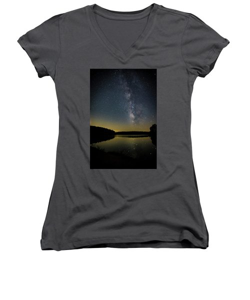 Milky Way Over Price Lake Women's V-Neck (Athletic Fit)