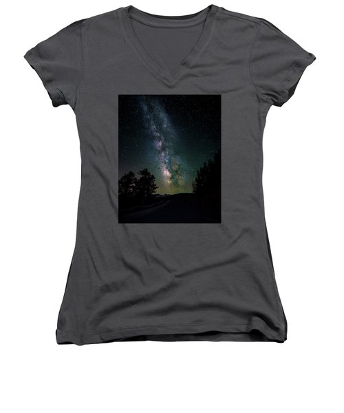 Milky Way Over Rocky Mountains Women's V-Neck