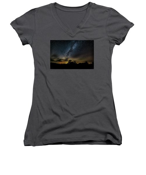 Milky Way Over The Blue Ridge Women's V-Neck (Athletic Fit)