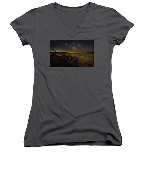 Milky Way Over The Canyon  Ranch Women's V-Neck