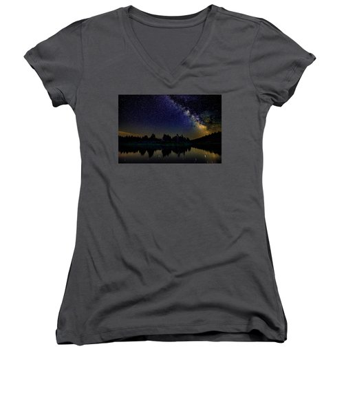 Milky Way Over The Deschutes River - 2 Women's V-Neck