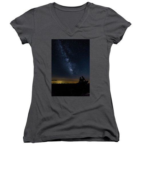 Milky Way Viewed From Rough Ridge Women's V-Neck