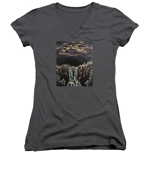 Women's V-Neck T-Shirt (Junior Cut) featuring the painting Milkyway by Cheryl Pettigrew