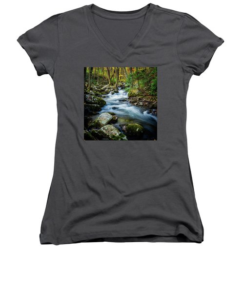 Mill Creek In Fall #3 Women's V-Neck (Athletic Fit)