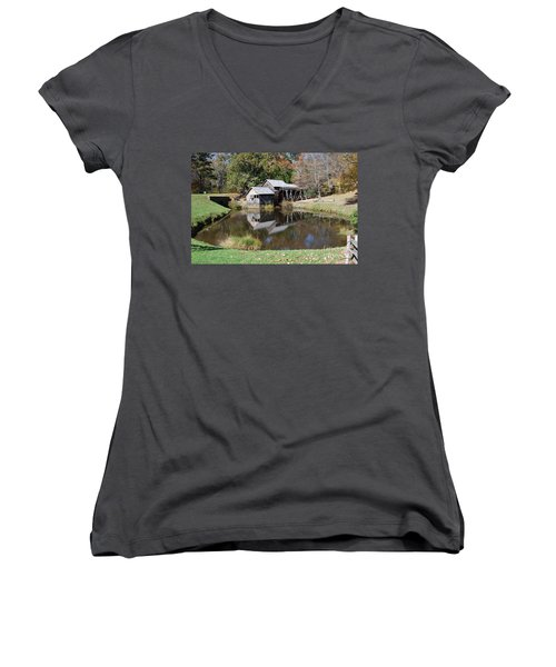 Women's V-Neck T-Shirt (Junior Cut) featuring the photograph Mill Reflections by Eric Liller