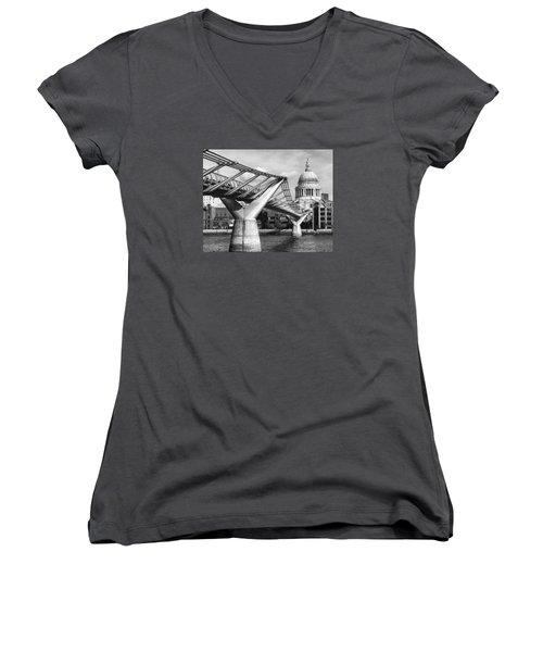 Millennium Footbridge Women's V-Neck T-Shirt (Junior Cut) by Shirley Mitchell
