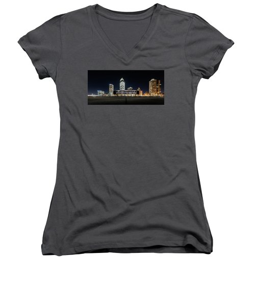 Women's V-Neck T-Shirt (Junior Cut) featuring the photograph Milwaukee County War Memorial Center by Randy Scherkenbach