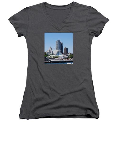 Women's V-Neck T-Shirt (Junior Cut) featuring the photograph Milwaukee, Wi Shoreline by Ramona Whiteaker