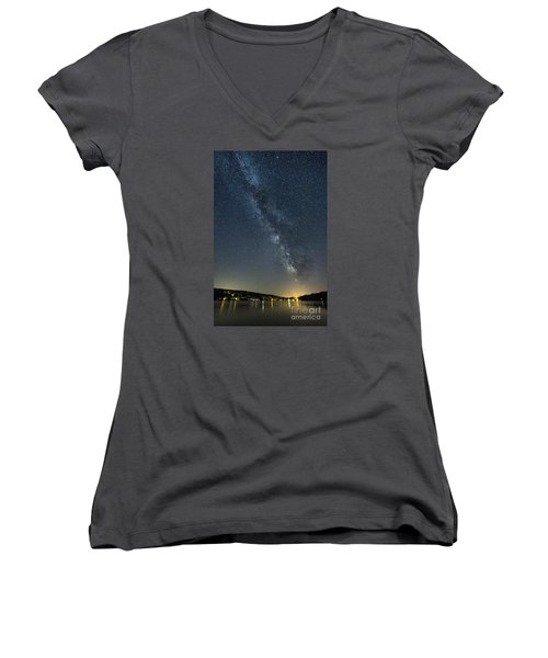 Milky Way From A Pontoon Boat Women's V-Neck T-Shirt (Junior Cut) by Patrick Fennell