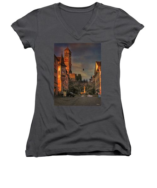 Women's V-Neck T-Shirt featuring the photograph Main Square by Hanny Heim