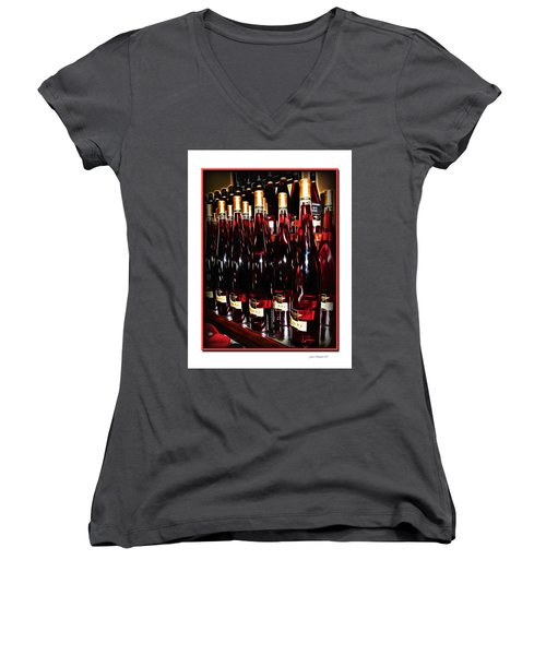 Women's V-Neck T-Shirt (Junior Cut) featuring the photograph Miner Pink Sparkling Wine by Joan  Minchak
