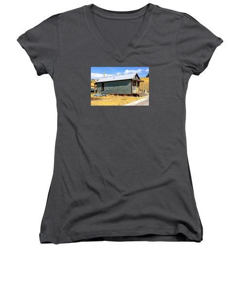 Miners Shack In Montana Women's V-Neck T-Shirt (Junior Cut) by Chris Smith