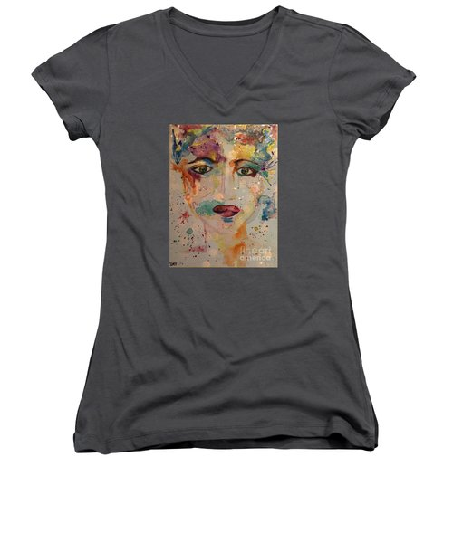 Women's V-Neck T-Shirt (Junior Cut) featuring the painting Minerva by Denise Tomasura