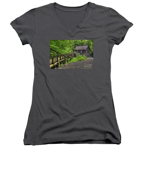 Women's V-Neck T-Shirt (Junior Cut) featuring the photograph Mingus Mill 2 Mingus Creek Great Smoky Mountains Art by Reid Callaway