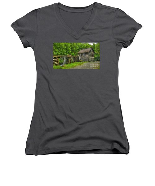 Women's V-Neck T-Shirt (Junior Cut) featuring the photograph Mingus Mill 3 Mingus Creek Great Smoky Mountains Art by Reid Callaway