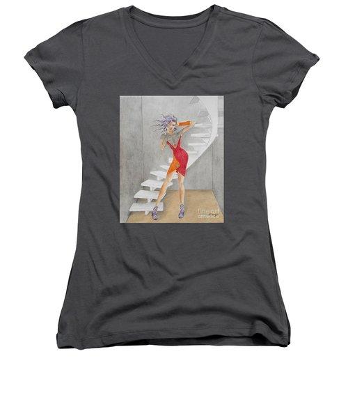 Minimalist Madness -- Whimsical Fashion Drawing Women's V-Neck T-Shirt