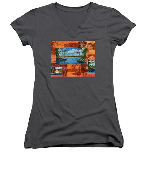 Mink Lake Looking North West Women's V-Neck (Athletic Fit)