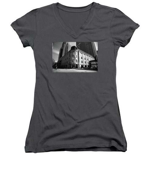 Women's V-Neck T-Shirt (Junior Cut) featuring the photograph Minneapolis Downtown Bw by Frank Romeo