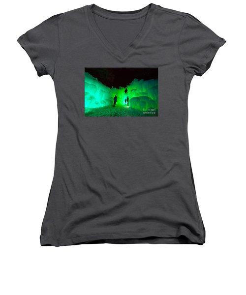 Ice Castles Of Minnesota Women's V-Neck (Athletic Fit)