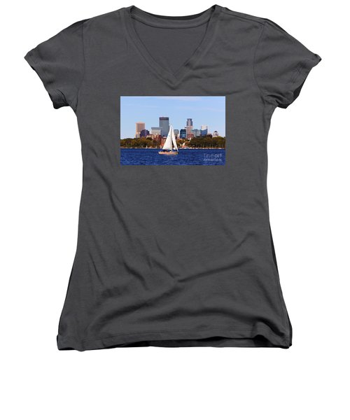 Minneapolis Skyline Lake Calhoun Sailing Women's V-Neck