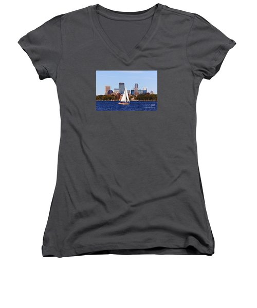 Minneapolis Skyline Lake Calhoun Sailing Women's V-Neck (Athletic Fit)