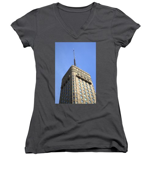 Women's V-Neck T-Shirt (Junior Cut) featuring the photograph Minneapolis Tower 6 by Frank Romeo