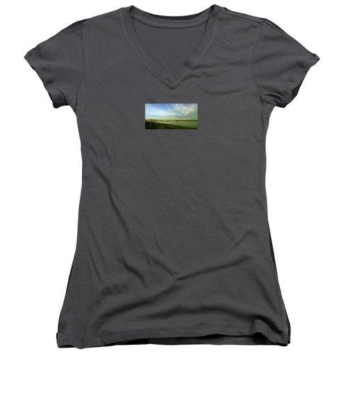 Mirror Calm Women's V-Neck T-Shirt (Junior Cut) by Anne Kotan