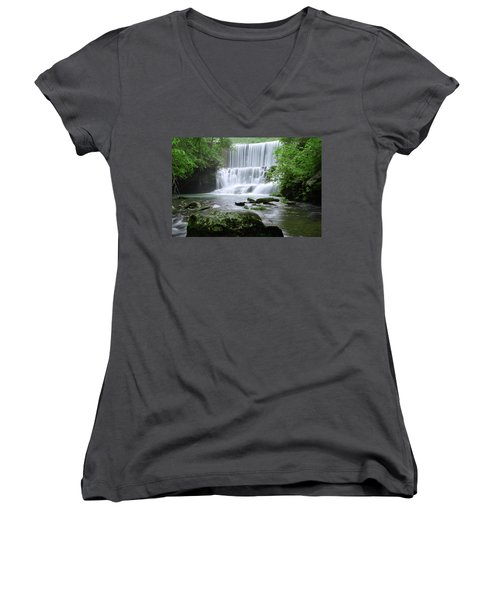 Women's V-Neck T-Shirt (Junior Cut) featuring the photograph Mirror Lake by Renee Hardison