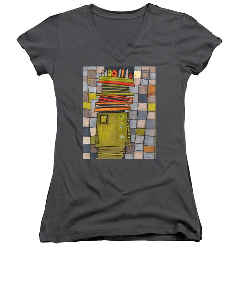 Misconstrued Housing Women's V-Neck T-Shirt (Junior Cut) by Sandra Church