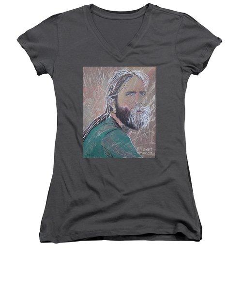 Missing Brent Women's V-Neck T-Shirt (Junior Cut) by Stuart Engel