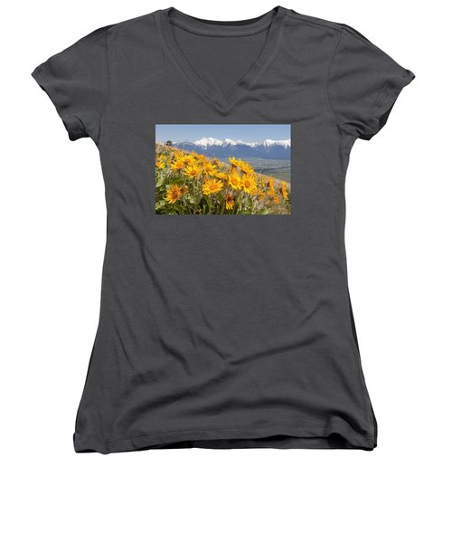 Mission Mountain Balsam Blooms Women's V-Neck T-Shirt (Junior Cut) by Jack Bell