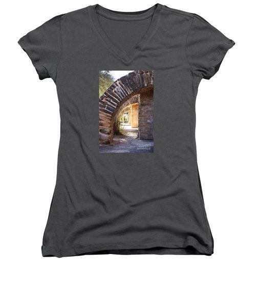 Women's V-Neck T-Shirt (Junior Cut) featuring the photograph Mission San Jose by Jeanette French