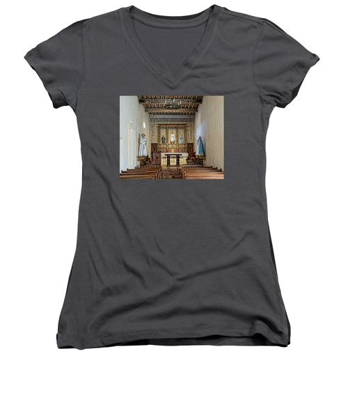 Women's V-Neck T-Shirt (Junior Cut) featuring the photograph Mission San Juan Capistrano Sanctuary - San Antonio by Stephen Stookey