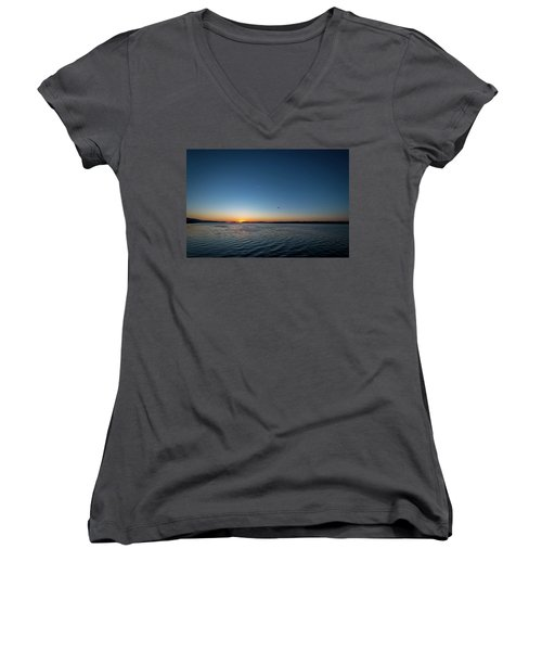 Mississippi River Sunrise Women's V-Neck