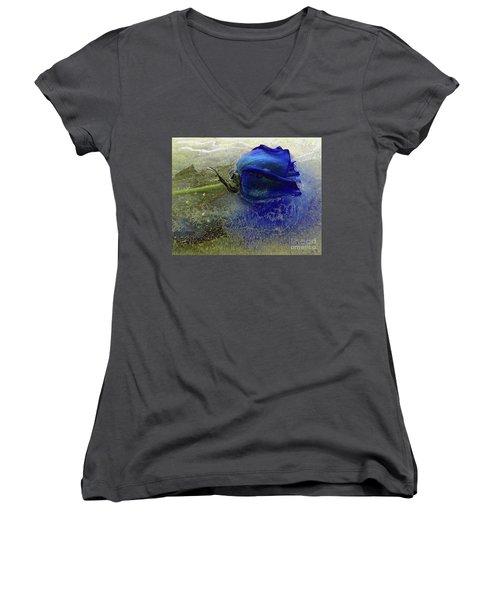 Misty Blue Women's V-Neck T-Shirt