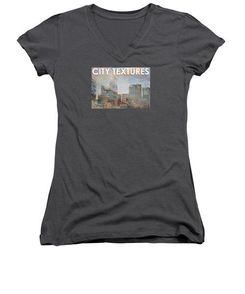 Misty City Textures Women's V-Neck T-Shirt (Junior Cut) by John Fish
