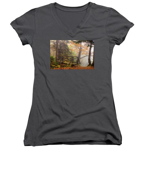 Misty Forest Women's V-Neck (Athletic Fit)