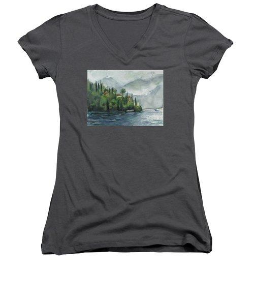Misty Island Women's V-Neck T-Shirt (Junior Cut) by Laurie Morgan