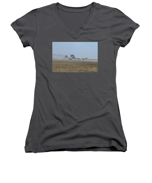 Misty Morning At Cannon Beach Women's V-Neck T-Shirt (Junior Cut) by Christiane Schulze Art And Photography