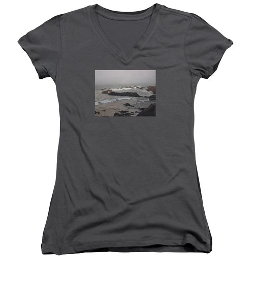 Misty Morning At Ragged Point, California Women's V-Neck T-Shirt (Junior Cut) by Barbara Barber