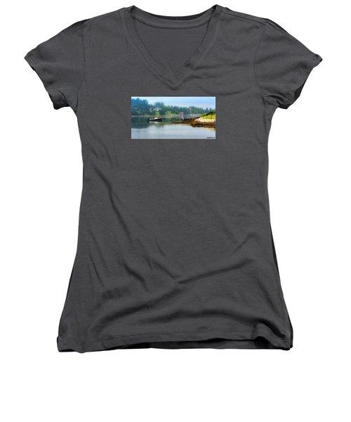 Misty Morning Women's V-Neck T-Shirt (Junior Cut) by Ken Morris