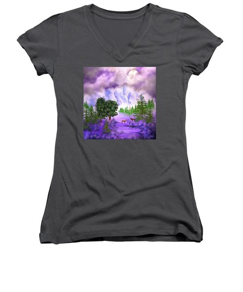 Misty Mountain Deer Women's V-Neck