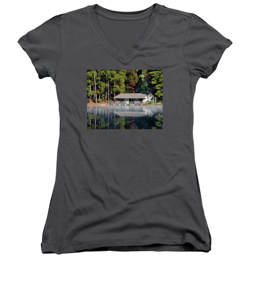 Women's V-Neck T-Shirt (Junior Cut) featuring the photograph Misty Reflection At Durant by George Randy Bass