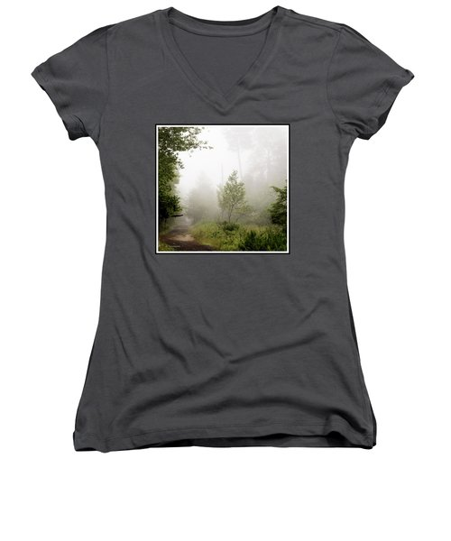 Misty Road At Forest Edge, Pocono Mountains, Pennsylvania Women's V-Neck T-Shirt (Junior Cut) by A Gurmankin