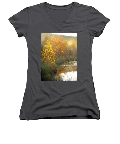 Misty Sunrise At Lost Maples State Park Women's V-Neck T-Shirt